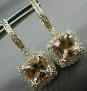 Estate Large 4.68ct Diamond And Aaa Morganite 14kt Rose Gold 3d Hanging Earrings