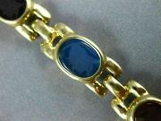 Estate Aaa Multi Color Agate And Onyx 14kt Yellow Gold 3d Etched Panther Bracelet
