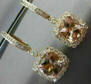 Estate Large 4.68ct Diamond And Aaa Morganite 14k Yellow Gold Square Halo Earrings