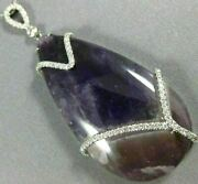 Extra Large 55.88ct Diamond And Aaa Amethyst 14kt White Gold 3d Pear Shape Pendant