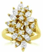 Estate 2.04ct Round And Marquise Diamond 14kt Yellow Gold Cluster Flower Leaf Ring