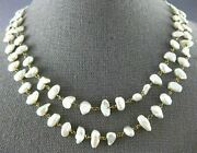 Antique Extra Long Aaa Baroque Pearl 14kt Yellow Gold 3d Classic Love Necklace