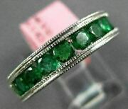 Estate Wide 1.53ct Aaa Emerald 18kt White Gold 3d Semi Eternity Engagement Ring