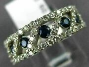 Wide 1.30ct Diamond And Aaa Sapphire 14kt White Gold 3d Diagonal Anniversary Ring