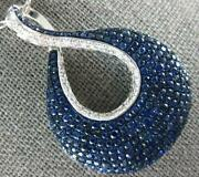 Extra Large 4.12ct Diamond And Aaa Sapphire 18kt White Gold Tear Drop Love Pendant