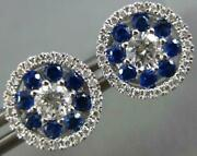 Large 1.03ct Diamond And Aaa Sapphire 18kt White Gold 3d Halo Flower Stud Earrings