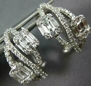 Estate .93ct Diamond 18kt White Gold Round And Baguette Infinity Clip On Earrings