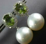 Large Diamond Green Tourmaline And South Sea Pearl 18k White Gold Hanging Earrings