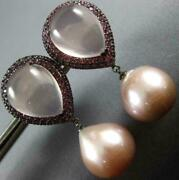 Large 10.20ct Aaa Pink Pearl Sapphire And Quartz 18kt Black Gold Hanging Earrings