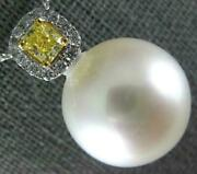 Large White And Fancy Yellow Diamond Aaa South Sea Pearl 18kt White Gold Pendant