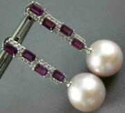 Large 1.80ct Diamond And Aaa South Sea Pearl And Rhodoilite 18kt White Gold Earrings