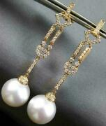Large .72ct Diamond And Aaa South Sea Pearl 18kt Rose Gold 3d Chandelier Earrings