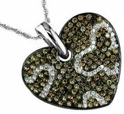1.49ct White And Chocolate Fancy Diamond 14kt White Gold Heart Butterfly Pendant