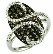 1.15ct White And Chocolate Fancy Diamond 14k White Gold 3d Infinity Oval Pave Ring