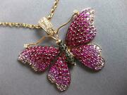 Extra Large 4.4ct Diamond And Ruby And Pink Sapphire 18k Rose Gold Butterfly Pendant