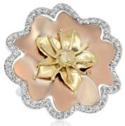 Wide .62ct Diamond 14kt White Yellow And Rose Gold 3d Classic Flower Fun Ring