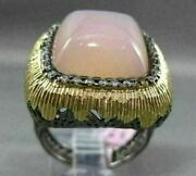 Estate Extra Large .35ct Diamond And Agate 14kt Black And Yellow Gold Filigree Ring