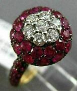 Estate Large 2.81ct Diamond And Aaa Ruby 18k Rose And Black Gold Cluster Flower Ring