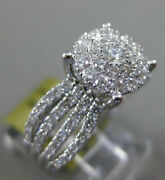 Estate Wide 1.11ct Diamond 14kt White Gold 3d Multi Row Engagement Promise Ring