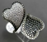 Estate Large 2.0ct White And Black Diamond 18kt White Gold Double Heart Love Ring