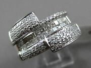 Estate Wide 1.12ct Diamond 18kt White Gold Round And Princess 3d Fun Cocktail Ring