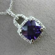 Estate 2.15ct Diamond And Amethyst 14kt White Gold 3d Square Halo Floating Pendant