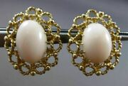 Antique Large Aaa Natural Oval Coral 14k Yellow Gold Open Filigree Earrings 2958