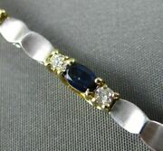 Estate 3.50ct Diamond And Sapphire 14kt Two Tone Gold By The Yard Tennis Bracelet