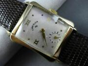 Antique Large Lord Elgin 14kt Yellow Gold Classic Rectangular Mens Watch 25636