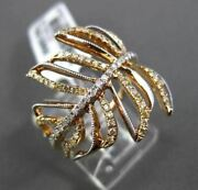 Estate Wide .67ct Fancy Yellow And White Diamond 18kt Rose Gold 3d Leaf Ring Cute