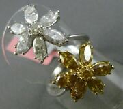 Estate Large 3.71ct White And Yellow Diamond 18kt Two Tone Gold Double Flower Ring