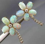 Antique Large .70ct Old Mine Diamond And Aaa Opal 14k Two Tone Gold Earrings 25775