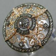 Estate Large .77ct White And Chocolate Fancy Diamonds 14kt Rose Gold Filigree Ring