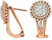 Estate Large 1.48ct Round Diamond 14k Rose Gold 3d Cluster Halo Clip On Earrings