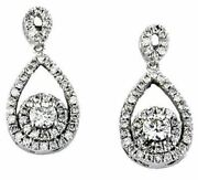 Estate .80ct Round Diamond 14kt White Gold 3d Tear Drop Cluster Hanging Earrings