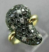 Estate Large 1.11ct White And Black Diamond 14kt Yellow Gold Pear Shaped Fun Ring