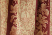 Curtain Antique French Fabric 19th C Greyhound Dog Print Madder Floral 1870 Pink
