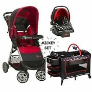 3 Pc Set Mickey Mouse Travel System Stroller Car Seat Playard