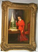 Jose Frappa 1879 Oil On Canvas French 1854 - 1904 Cardinal With Buttterfiles