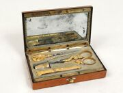 Necessary In Sewing Gold Solid Head Aigle Case Magnifier Amboyna Mother 19th