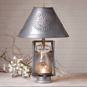 Farmerandrsquos Lamp With Punched Tin Shade In Antique Tin /primitive Country Lighting