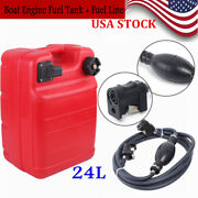 Portable Boat Fuel Tank 24l Marine Outboard Tank With Fuel Line Connector Kit