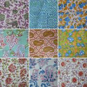 New Indian Cotton Hand Block Print Loose Craft Fabric Sewing Running Dressmaking