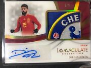 2019 Panini Immaculate 1/5 Diego Costa Auto Game Worn Patch Jersey Patch Spain