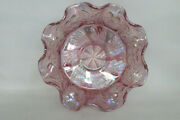 Fenton Butterfly And Berry Fantail Carnival Glass Ruffled Footed Bowl 1411b