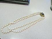 Estate Double Strand Pearl Necklace With Huge 14k Black Onyx And Seed Pearl Clasp