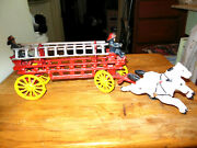 Antique Cast Iron Horse Drawn Hook And Ladder Fire Truck W/ 2 Men And 2 Ladders
