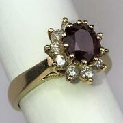 Vintage Oval Ruby +diamonds 14k Gold High Halo Engagement Cocktail Ring Size 6.5
