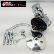 Sbc Chevy Chrome Saginaw Early Power Steering Pump Bracket And Aluminum Pulley Kit