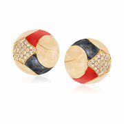 Vintage Diamond And Multicolored Enamel Clip-on Earrings In 18kt Gold